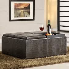 coffee tables simple leather cocktail ottoman with shelf