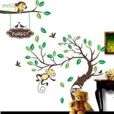 popular monkey wall art kids buy cheap lots monkey tree wall art stickers kids decal removable decor decals home china mainland