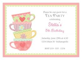 Greeting Cards For Invitation Free Afternoon Tea Party Invitation Template Template