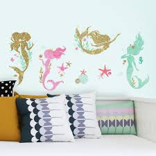roommates 5 in x 11 5 in mermaid 21 piece peel and stick wall mermaid 21 piece peel and stick wall