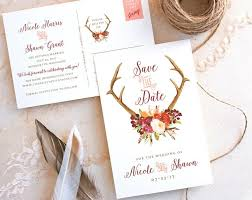 wedding save the date postcards antler save the date postcard with burgundy and eggplant