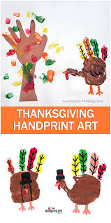 thanksgiving turkey and fall tree handprint keepsake