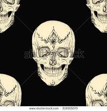 white skull ornament on black backgroundseamless stock vector