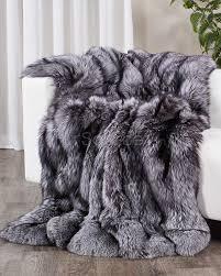 Faux Fur Throw Grey Full Pelt Silver Fox Fur Blanket Fur Throw Fursource Com