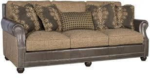 Julianna Leather And Fabric Sofa LF King Hickory Array - Hickory leather sofa