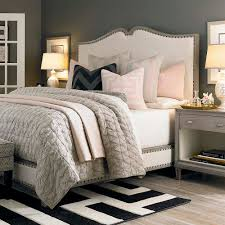 grey walls cream headboard bassett decor pinterest gray