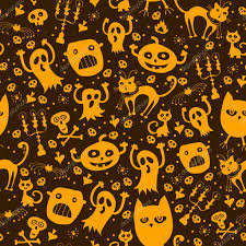 pattern seamless texture with silhouette of a cat pumpkin ghost