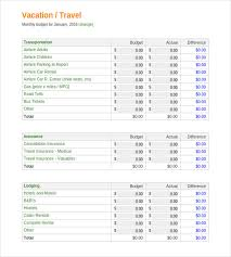 Travel Budget Template Excel Vacation Budget Template 9 Free Word Excel Pdf Document
