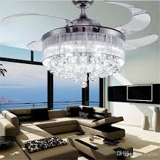 Livingroom Lighting 2017 Led Ceiling Fans Light Ac 110v 220v Invisible Blades Ceiling