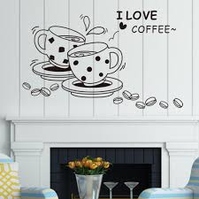 vinyl wall stickers picture more detailed picture about i love i love coffee wall decal removable cute coffee cup wall sticker kitchen restaurant vinyl wall stickers
