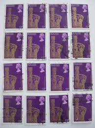 20 uk gb used purple and gold postage stamps from 1978 great for