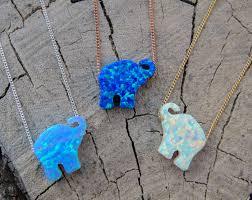 blue opal necklace opal necklace opal elephant necklace blue opal necklace
