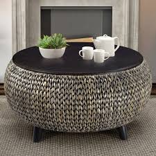 round wicker end table round rattan coffee table with glass top montserrat home design
