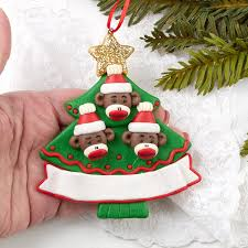 ready to personalize monkey family ornament ornaments