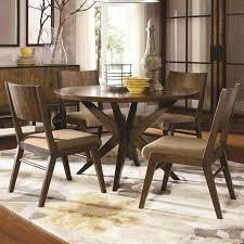 5 piece pedestal table and wood back chairs set by legacy classic