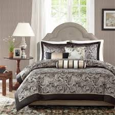 madison park aubrey 6 piece jacquard black duvet cover set mp12 854 5