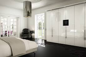 luxury bedroom design ideas come with white glossy wardrobe and