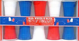 party cups white blue party cup electric string lights patriotic