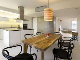 simple wooden table design for rustic look in modern dining room