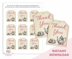 thank you tags tea party thank you tags tea party gift tags bridal shower thank