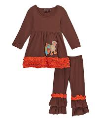 Thanksgiving Turkey Delivery Brown Ruffled Turkey Thanksgiving Pant U0026 Top Set U2013 Royal Gem Clothing