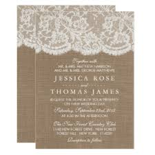 wedding invitations lace burlap and lace wedding invitations announcements zazzle