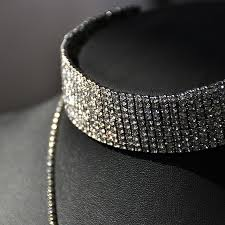rhinestone choker collar necklace images Hot vintage style wide rhinestone choker necklaces 2 layers long jpg