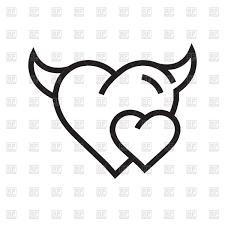 devil heart outline icon vector clipart image 157043 u2013 rfclipart