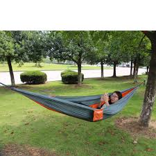 enjoy portable parachute nylon fabric travel camping hammock for