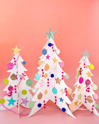 colorful cardboard trees and diy ornaments