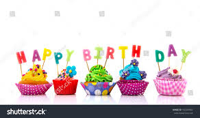happy birthday candles colorful cupcakes happy birthday candles isolated stock photo