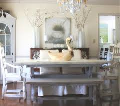 elegant white painted wooden bench and dining table mixed f