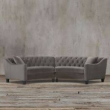 Curved Sofa Sectional Modern Gray Grey Button Curved Tufted Sectional Sofa Set Taupe Modern