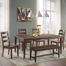 Dining Table With Bench With Back Dining Possibilities 6 Piece Rectangular Table With Ladder Back