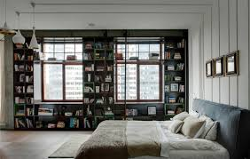 fantastic bedroom bookshelves design with nice industrial design