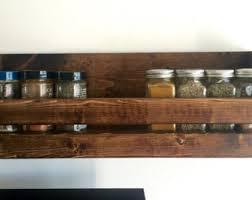 Wood Wall Mount Spice Rack Rustic Spice Rack With 2 Shelves Bathroom 2 Shelf Organizer