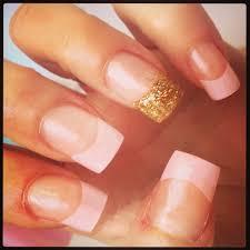 acrylic nails pink tips u0026 1 gold glitter tip nails pinterest