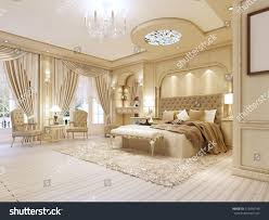 luxurious bedroom pastel colours neoclassical style stock
