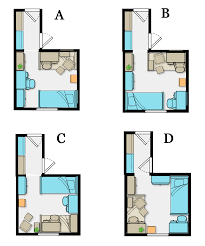 four variations on a dorm room layout one bed lofted with desk