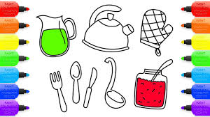 how to draw coloring pages how to draw kitchen set for girls coloring pages tableware jam