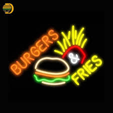 2017 burger fries neon sign bread neon bulbs arcade neon sign