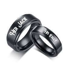 black promise rings images His sally her jack black couple rings matching titanium promise jpg