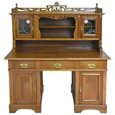 Chinese Secretary Desk by Art Nouveau Walnut Pedestal Desk With Upper Cabinet And Stained