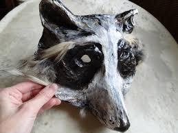 halloween dog mask paper mache papier mache raccoon mask halloween mask animal mask