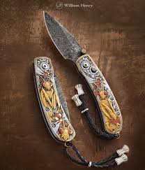 william henry kitchen knives mantis engraved pocketknife with gold inlays by william