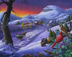 winter sleigh painting small town oil sunset timeless snow farm