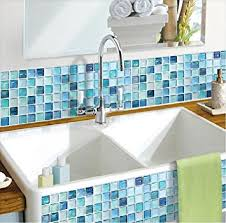 Wallpaper For Kitchen Backsplash by Amazon Com Beaustile Mosaic 3d Wall Sticker Home Decor N Blue