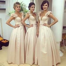 chagne bridesmaid dresses aliexpress buy v neck flower shoulder satin