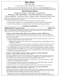 cfo resume sample chief financial oficer resume sample executive