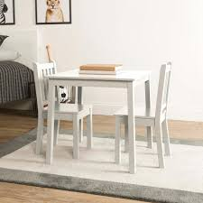 Tot Tutors Daylight 3 Piece White Kids Table And Chair Set Tc741